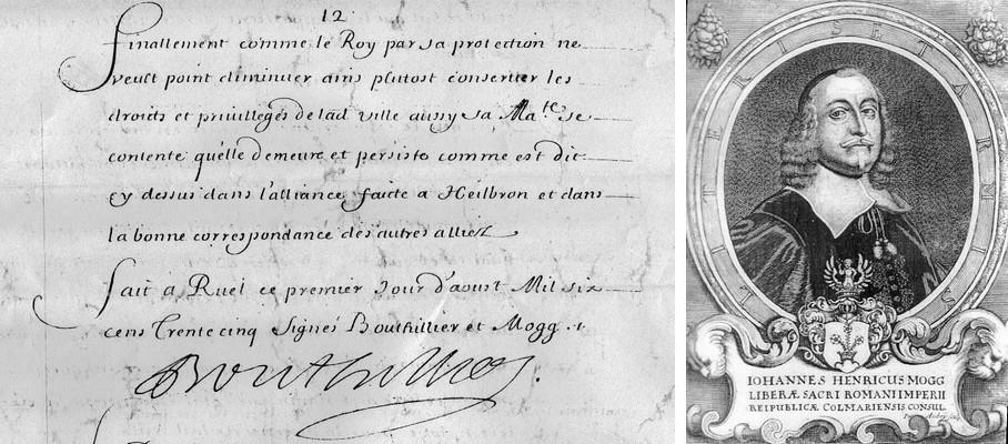 Traité de RUEL - Jean-Henry MOGG. Originaux aux Archives Municipales de Colmar – Copies au Musée Historique de Rueil