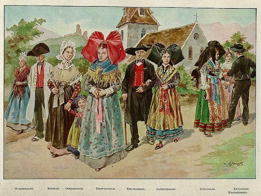 Diférentes coiffes des costumes alsaciens
